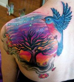 (clouds & cherry blossoms by Paul Tinnman) Julie Becker tattoo. Background colors!!!