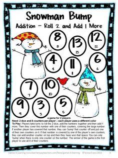 FREEBIE - Addition Bump game from Snowman Math Bump Games Freebie from Games 4 Learning - Perfect for a winter math game or Christmas math game!