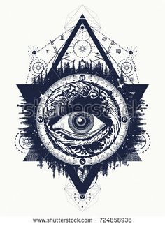 All seeing eye tattoo, tourism in a mystical style vector. Eye of the storm art t-shirt design. Alchemy, spirituality, religion, occultism, esoteric tattoo art