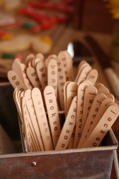 Love the hand stamped wooden silverware