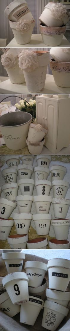 DIY FLOWER POTS :: White chalk painted terra cotta pots (using ASCP) w/ burlap decoupaged on some & others with rub on transfers to embellish them.