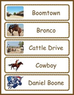 Immerse your class in a the vocabulary and images for teaching a unit on the history and events of westward expansion in the United States. This word wall includes 24 westward expansion vocabulary words, each illustrated with a colorful picture.This westward expansion word wall includes the following words included are: Boomtown, Bronco, Cattle Drive, Cowboy, Daniel Boone, Frontier, Ghost Town, Gold Rush, Gunslinger, Homestead, Land rush, Lewis and Clark, Log Cabin, Louisiana Purchase…