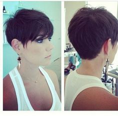 Side and back view of pixie haircuts More