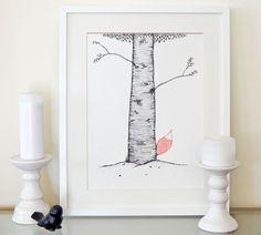 Hiding fox drawing. Fox illustration. Graphic tree by DecorAsylum