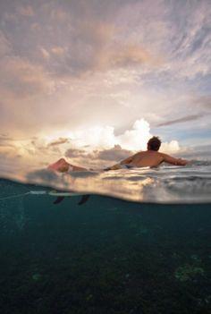 Surfer floating