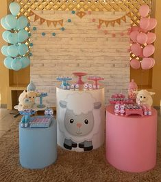 Tea revelation: a complete manual for this exciting event - Dinnerrecipeshealthy sites Safari Decorations, Gender Reveal Decorations, Birthday Decorations, Gender Party, Baby Gender Reveal Party, Fiesta Baby Shower, Baby Shower Cakes, Baby Party, Baby Shower Parties