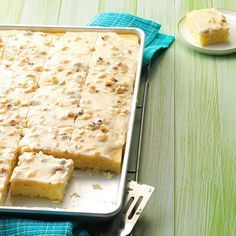 White Texas Sheet Cake Recipe -This cake gets better the longer it sits, so I try to make it a day ahead. My mother-in-law introduced this deliciously rich cake to me. With its creamy frosting and light almond flavor, no one can stop at just one piece!
