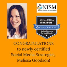 """Wishing a heartfelt """"Congratulations"""" to Melissa Goodson on her recent achievement!  We are happy to have you as a part of the NISM community!"""