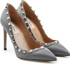 Valentino Shoes - A pointed silhouette and a glossy Rockstud trim make these Gray leather Valentino pumps a slick investment to wear again and again. Gray leather tonal trim with platinum Rockstuds pointed toe leather insole and sole. Valentino Heels, Valentino Rockstud, Stilettos, Stiletto Heels, Grey Pumps, Gray Heels, Pump Shoes, Shoe Boots, Designer Heels