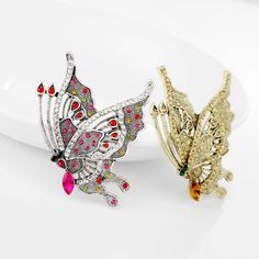 ANTIQUE BROACHES | Antique Rhinestone Butterfly Pin Brooch by Angel652446