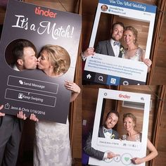 """127 Likes, 9 Comments - Social Cutouts Instagram Props (@socialcutouts) on Instagram: """"Check out these three cutouts we did for a wedding! Our clients met on tinder and enjoyed having…"""""""