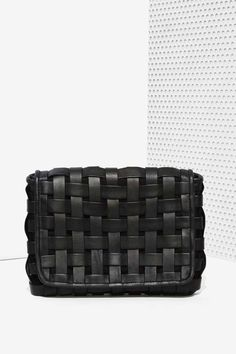 Woven Black Leather Clutch