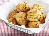 Almost-Famous Cheddar Biscuits Recipe-these were very good. I made them by hand-cutting in the shortening then lightly mixed-they were fluffy and buttery. (used a bit more butter on top :)