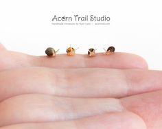 Miniature snail FLASH SALE!  24 hrs only!  https://www.etsy.com/shop/AcornTrail?section_id=17371435 #sale #miniatureart #handmade #miniatures #dollhouse #miniature #snail #miniaturegarden #creature #collectibles