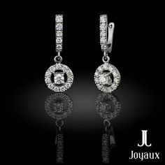 Diamond Dangle Earrings in 18k White Gold (approx. 1,45 ct. tw.) Diamond Dangle Earrings, Pocket Watch, Natural Gemstones, Dangles, Jewelry Making, White Gold, Accessories, Jewellery Making, Make Jewelry