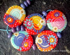 jasmin french ' miss 50th ' lampwork beads set by jasminfrench