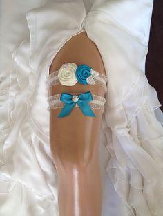 wedding garter set ivory/turquoise bridal garter by alarasstore