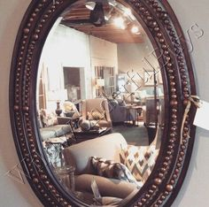 Oval Rivet WALL MIRROR Antique Bronze Neiman Marcus Tuscan Style Horchow New #Tuscan