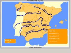 Mapa interactivo de España Ríos de España. ¿Cómo se llama? (Fácil) - Mapas Flash Interactivos de Enrique Alonso