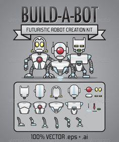 Build-A-Bot Kit  #GraphicRiver         A pack of robot parts for building your own robots which can be used for web, logo, stickers, avatars, etc.   These robot parts consist of head pieces, torso pieces, arms, legs, eyes and accessories.
