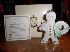 2002 Lenox Gingerbread Christmas - Gingerbread Man holding wreath.