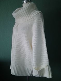 NEW TALBOTS IVORY KNIT TUBE NECK WIDE SLEEVES LAGENLOOK LOOSE FIT SWEATER L #Talbots #TurtleneckMock