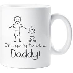 I'm Going to Be a Daddy Mug Fathers Day Mug Gift New Dad Daddy Present... ($11) ❤ liked on Polyvore featuring black, drink & barware, drinkware, home & living, kitchen & dining and mugs