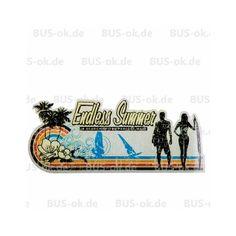 Aufkleber+Endless+Summer+mit+einer+Surf-Szene+am+Palmenstrand.+Used+Look+70er+StyleGröße+ca.+17,8cm+x+7,7cm
