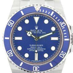 Rolex Submariner Steel Non Date Custom Blue Dial / Insert ! Model # 14060