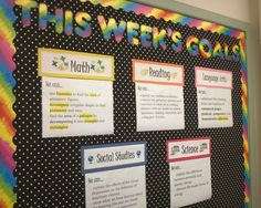 Student Objectives on a bulletin board using page protectors