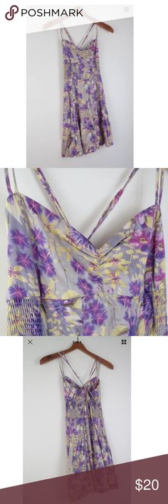 "Free People yellow purple floral dress 10 Condition: Excellent. Cotton/rayon blend. 26.25"" length from top of bust, 30""-34"" bust, 24""-26"" waist, 34"" hip. Free People Dresses"
