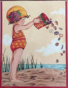 Handmade Fridge Magnet-Mary Engelbreit Artwork-Sand And Fun
