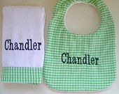 Baby Boy Monogrammed Burp Cloth Set with an by flauntthename