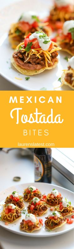 Tostada Bites are cute Mexican appetizers perfect for any party or tailgate! Made with taco meat, cheese, black beans, tomatoes and sour cream.