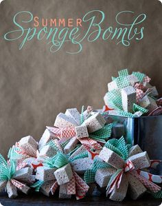 sponge bombs for the kids....easier than water balloons, and cuter!