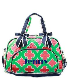 Personalized Coral Moroccan Diamond Quilted Duffle Tote Bag - Navy & Mint