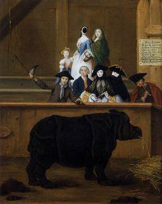 Pietro Longhi, The Rhinoceros. 1751. Oil on canvas, 62 x 50 cm Museo del Settecento Veneziano, Ca' Rezzonico, Venice