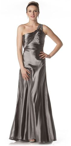 8ed60266d9 One Shoulder Silver Dress Full Length Open Back Beading Small Train Colors  Available)