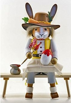 Sitting Mr Easter Bunny Rabbit Painting an Egg German Wood Easter Nutcracker >>> More info could be found at the image url.