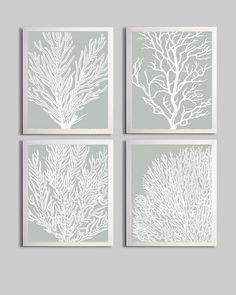 Coral Ocean Beach Sea Prints Silver Sage White