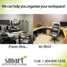 Is your workspace making you feel unorganized and nonproductive? Maybe the entire office floor needs some organization? We can help! For more information please call: Office Space Planning, Office Floor, Corner Desk, Organization, Flooring, Canning, How To Plan, Table, Furniture