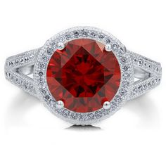 BERRICLE Sterling Silver Round Simulated Garnet CZ Halo Engagement... ($85) ❤ liked on Polyvore featuring jewelry, rings, garnet, sterling silver, women's accessories, sterling silver jewelry, garnet engagement rings, garnet ring, clear nose ring and round engagement rings