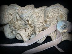 Lace Headband BECKYHairband Rhinestone MOP Button by tamilyn, $34.99