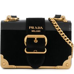 Prada Cahier buckle shoulder bag ($2,220) ❤ liked on Polyvore featuring bags, handbags, shoulder bags, black, chain strap purse, shoulder bag purse, antique purses, prada handbags and leather shoulder handbags