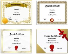 Free Editable Certificate Template   Customize Online & Print at Home Certificate Maker, Blank Certificate Template, Printable Certificates, Award Certificates, Gift Certificate Template, Online Printing, Lettering, Typography, Student Awards