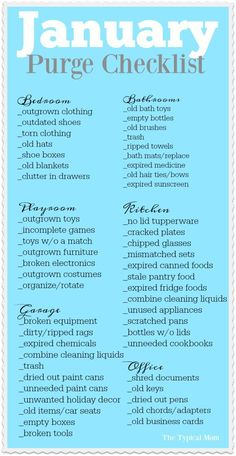 January purge checklist printable that helps you go through what needs to be thrown away and donated room by room. I do this every year and it's SO helpful! via @The Typical Mom