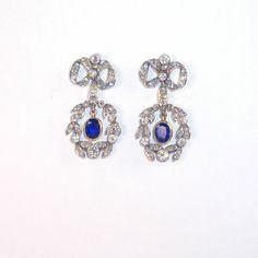 Earrings : Earrings AMS2814 Antique diamond earrings with sapphire centers. #earrings#amazing#vintage#antiques#diamonds#sapphires#