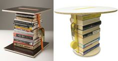 DIY College Apartment Ideas - book tables. Can use old textbooks!