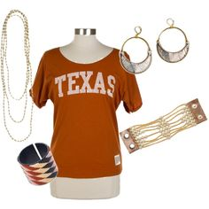 Perfect for Texas Longhorn gameday & tailgating!  Styled with jewelry & accessories from Noonday Collection (www.judymaguire.noondaycollection.com)