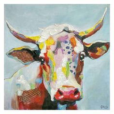 35 X 35-in Bright Cow Head Gallery Art